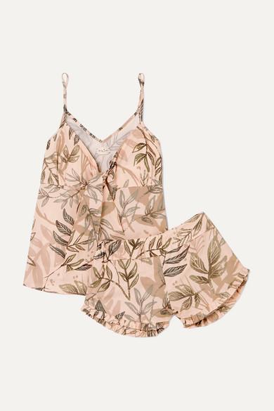 Rosie Ruffled Printed Cotton Pajama Set in Sage Green
