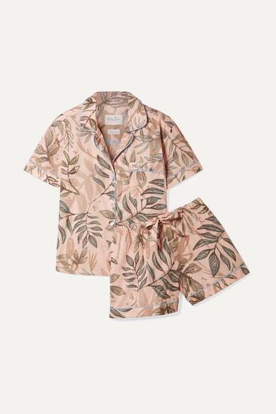 Nina Printed Linen Pajama Set in Sage Green