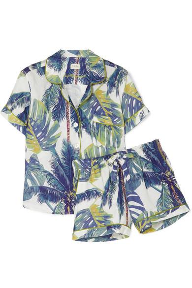 Nina Printed Cotton Pajama Set in Petrol