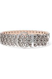 Lua studded metallic leather belt