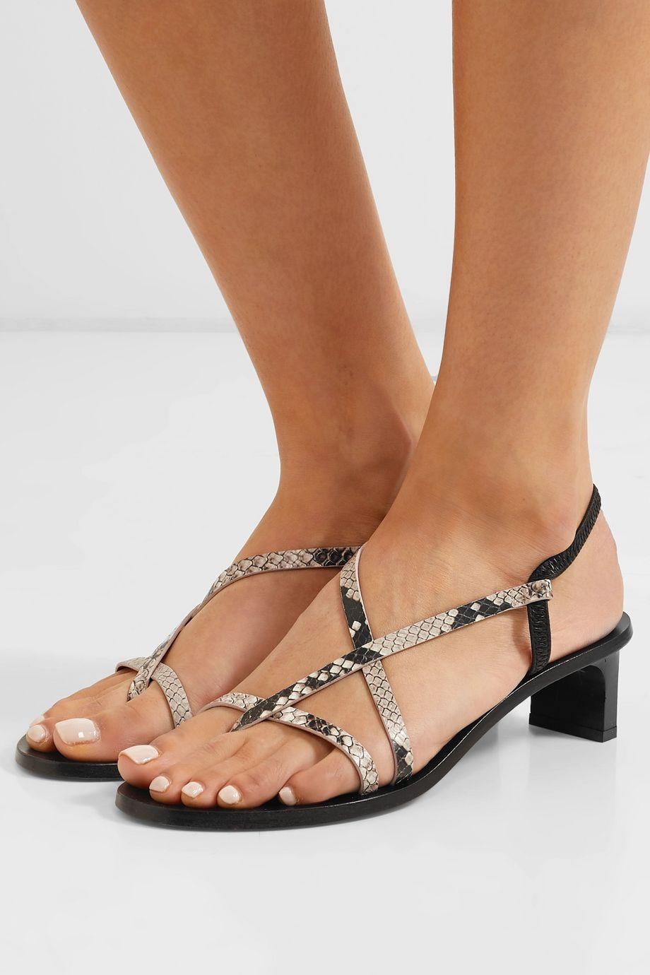 ATP Atelier Nashi snake-effect leather slingback sandals