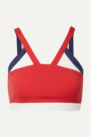 Mesh-trimmed stretch sports bra