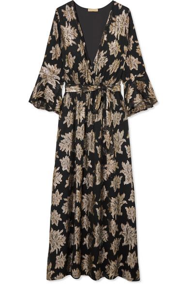 Melissa Odabash Dresses STONE WRAP-EFFECT METALLIC FIL COUPÉ CHIFFON MAXI DRESS