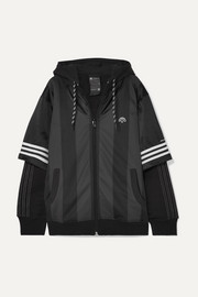 adidas Originals By Alexander Wang Hooded layered fleece, mesh and tech-jersey jacket