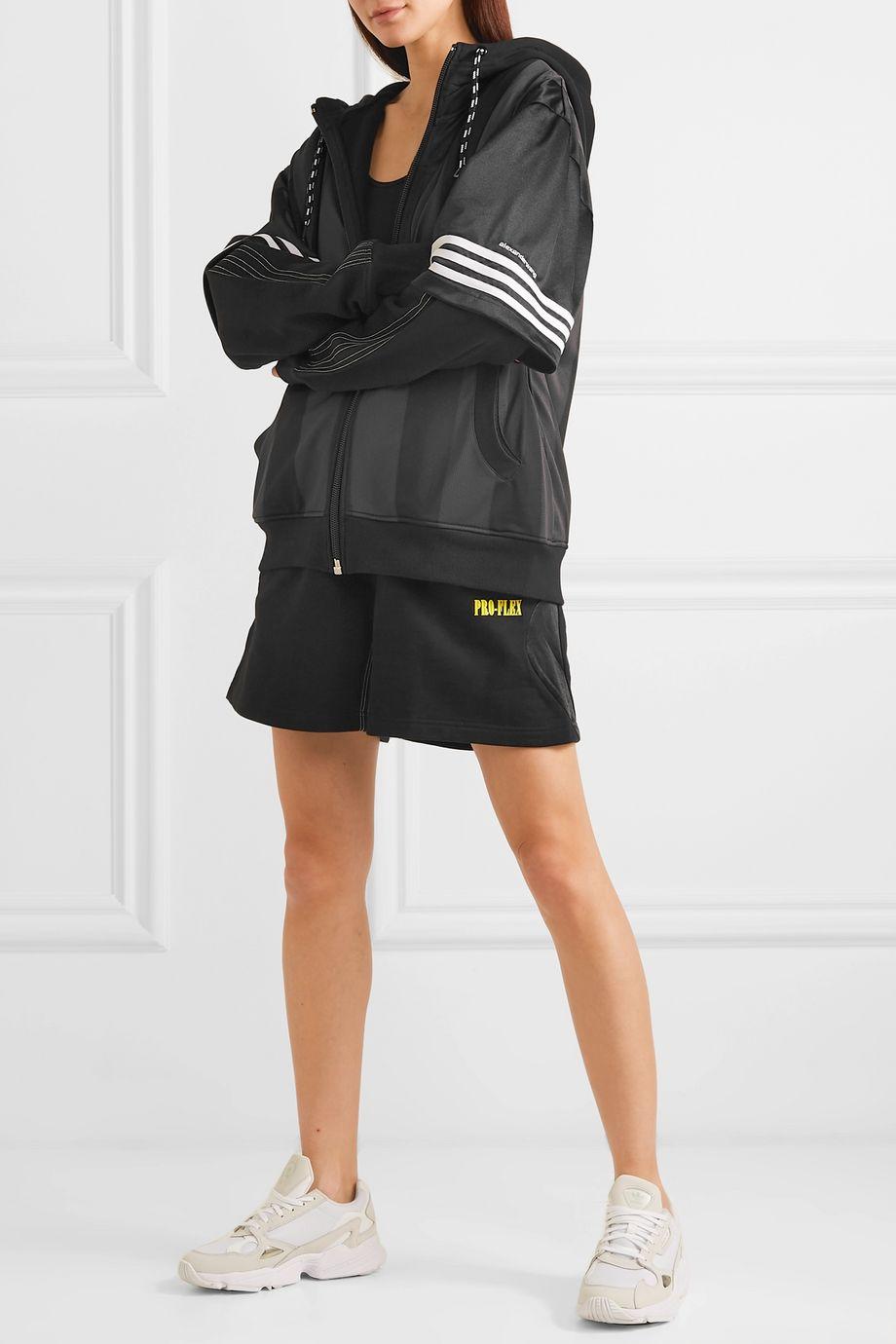 adidas Originals By Alexander Wang Mehrlagige Kapuzenjacke aus Fleece, Mesh und technischem Jersey