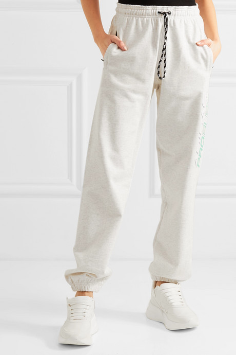 Printed cotton-terry track pants