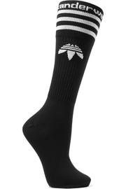 Intarsia cotton-blend socks