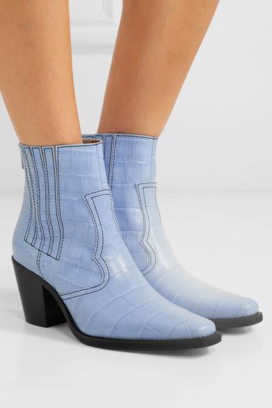 c706b221254 GANNI | Croc-effect leather ankle boots | NET-A-PORTER.COM