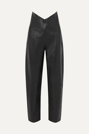 Ruched leather tapered pants