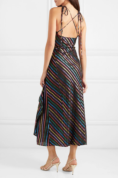 Attico Dresses Metallic striped jacquard wrap dress