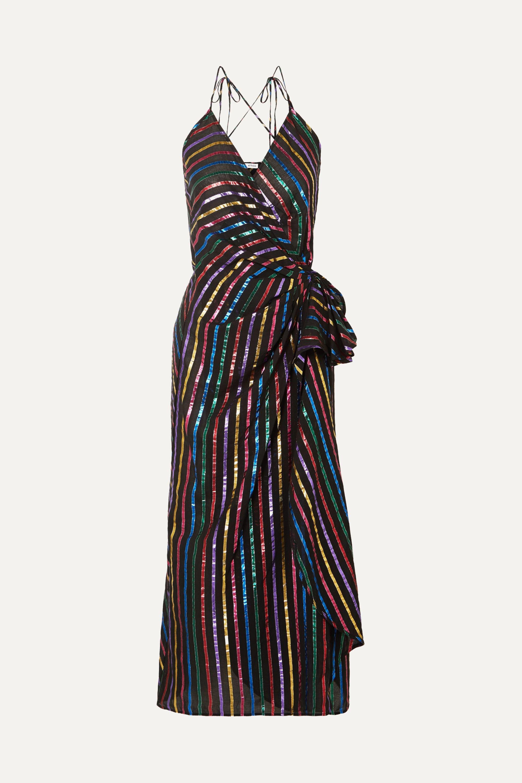 The Attico Metallic striped jacquard wrap dress
