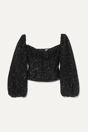 Attico Twist-front sequined crepe top