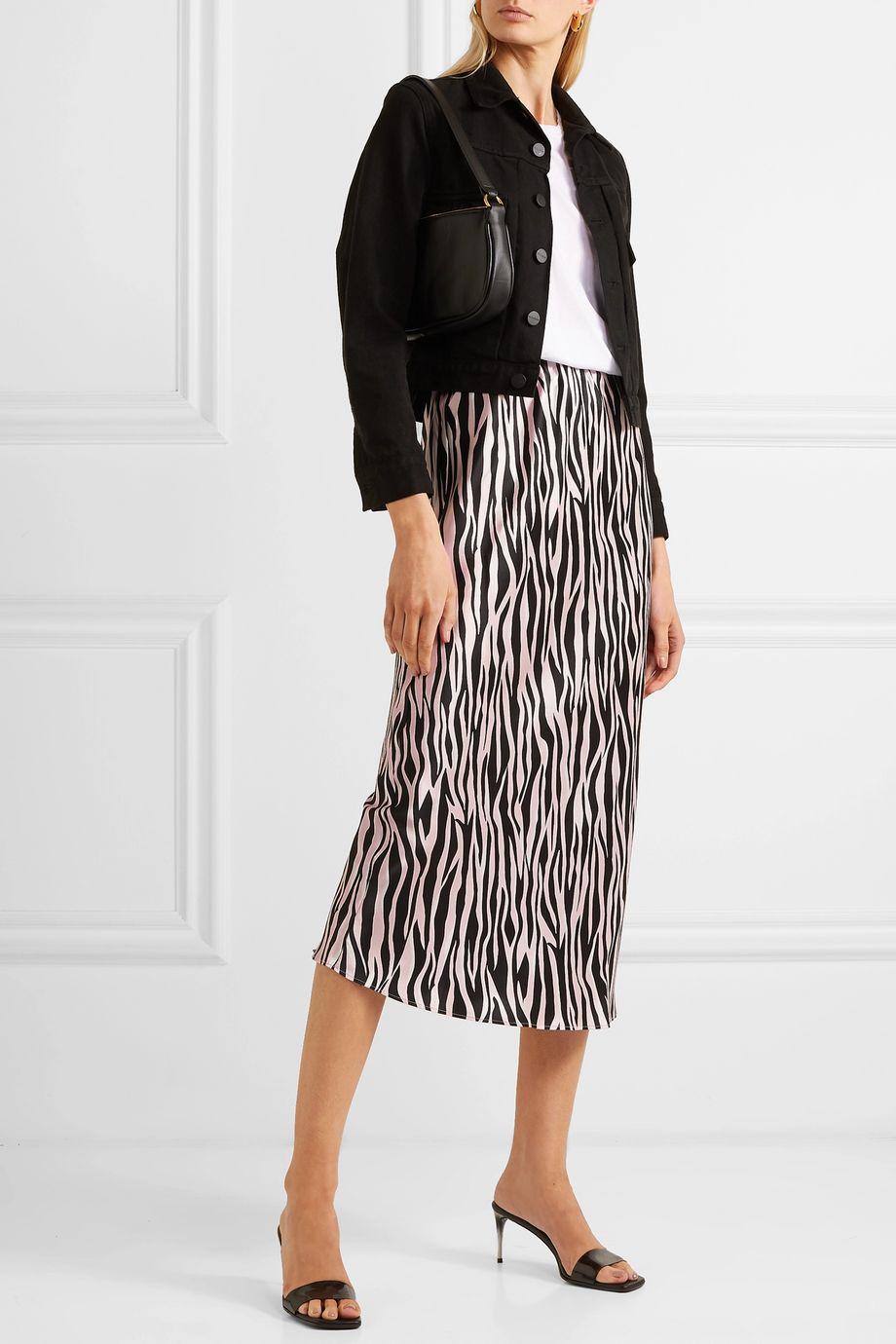 Olivia von Halle Isla printed silk-satin midi skirt