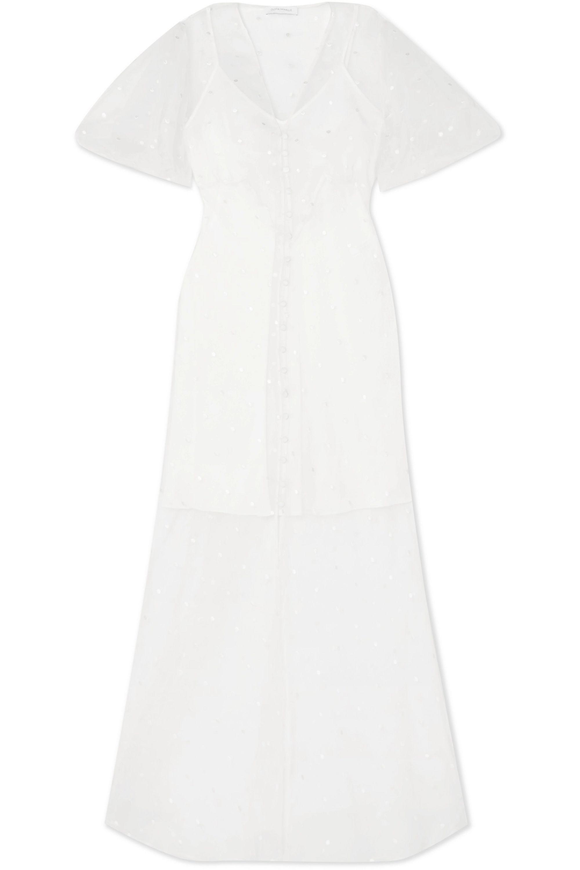 Olivia von Halle Delphine embroidered silk-organza maxi dress