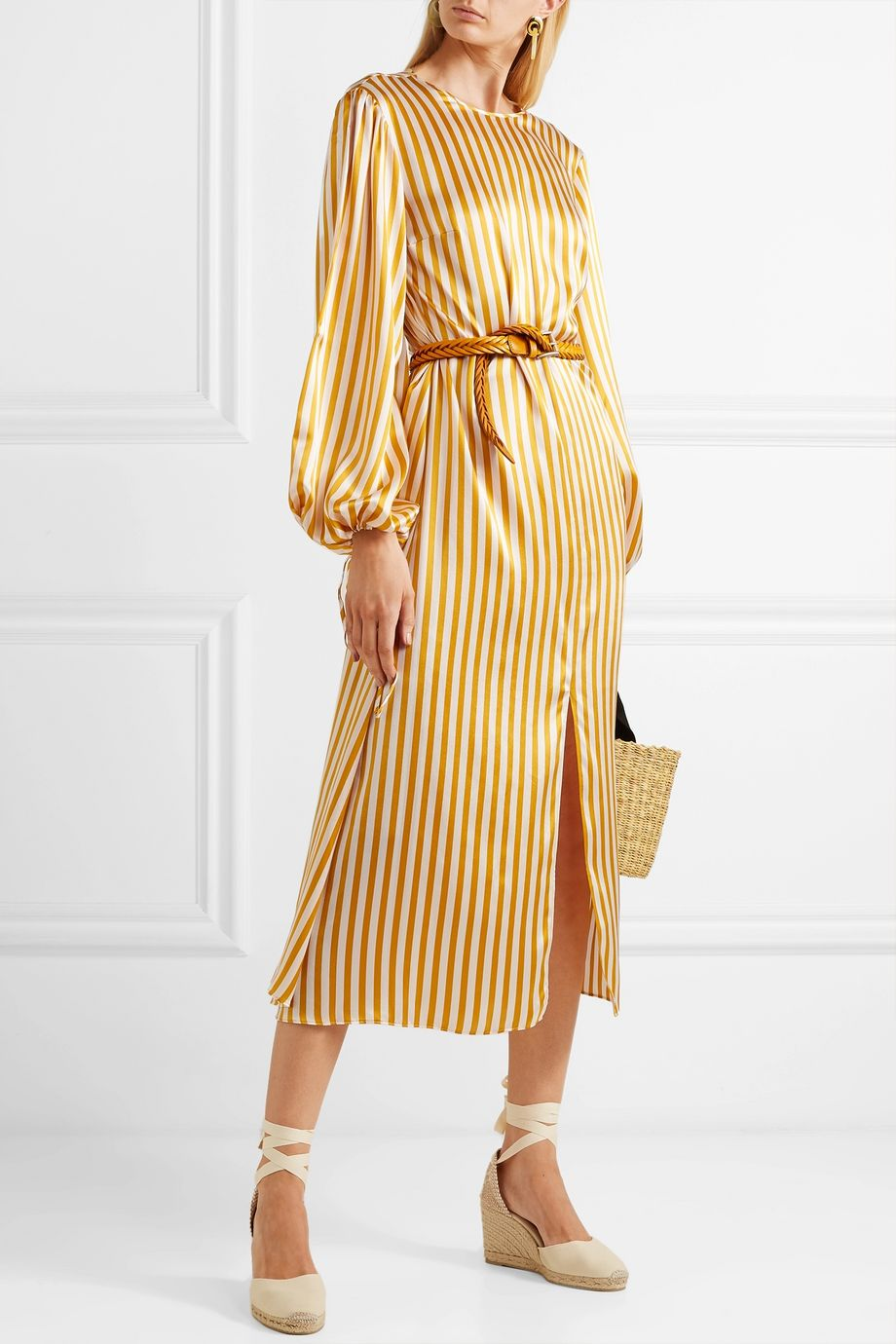 Olivia von Halle Margeaux striped silk-satin midi dress