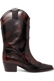 Marlyn embroidered patent-leather boots