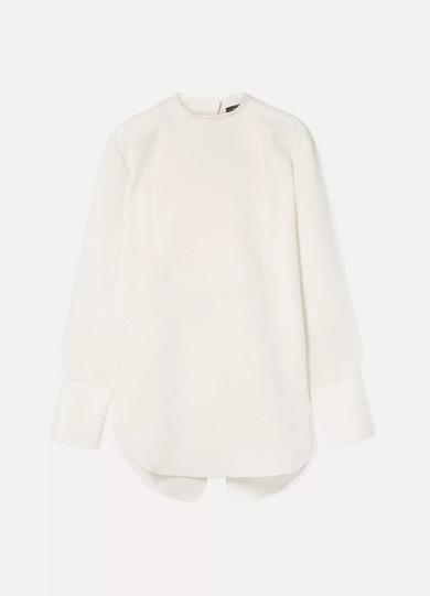 THEORY | Theory - Oversized Linen Blouse - White | Goxip