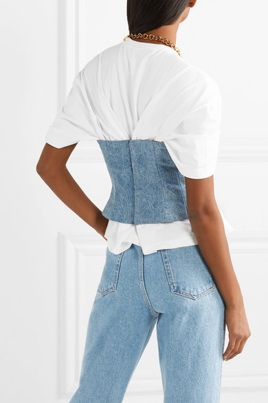 Junya Watanabe Tops Layered cotton-jersey and denim top
