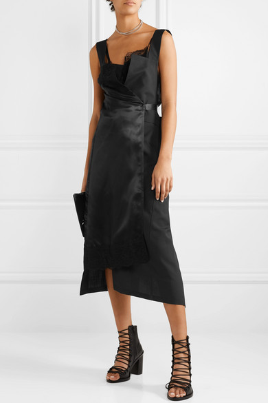 Junya Watanabe Lace Trimmed Paneled Satin And Twill Wrap