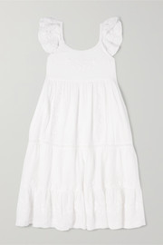 Scarlett tiered embroidered cotton-voile dress