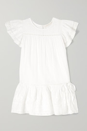 Audrey tiered embroidered cotton-voile dress
