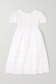 Holly crochet-paneled cotton-voile dress