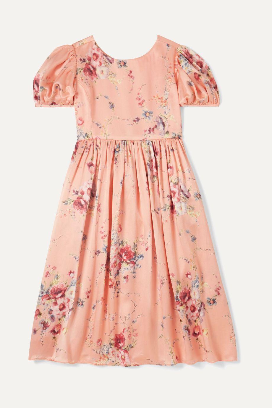 LoveShackFancy Kids Holly Kleid aus Duchesse-Seidensatin mit Blumenprint