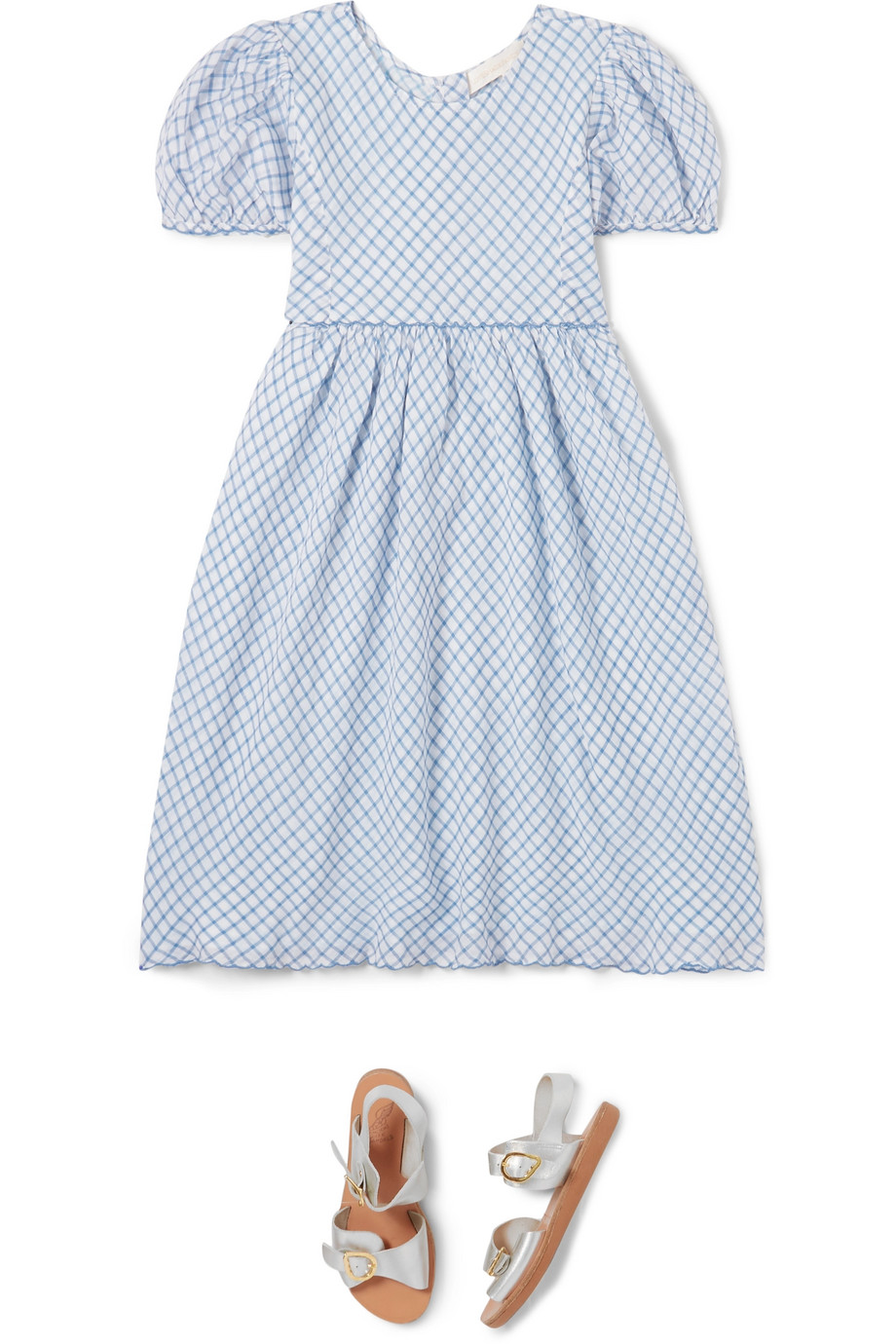 LoveShackFancy Kids Holly checked cotton-voile dress