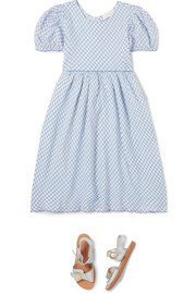 Holly checked cotton-voile dress