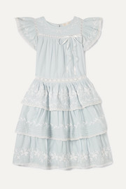 Callie tiered embroidered cotton-voile dress