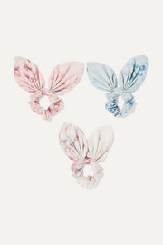 Penny set of three floral-print silk-voile hair ties