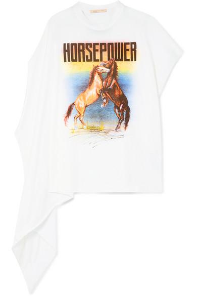Asymmetric Printed Cotton Jersey T Shirt by Christopher Kane