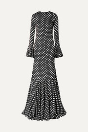 Allonia fluted polka-dot silk-blend satin gown