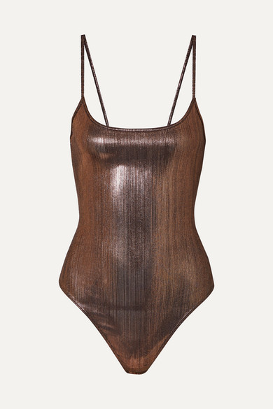 ALIX | Alix - Keen Stretch-lamé Thong Bodysuit - Bronze | Goxip