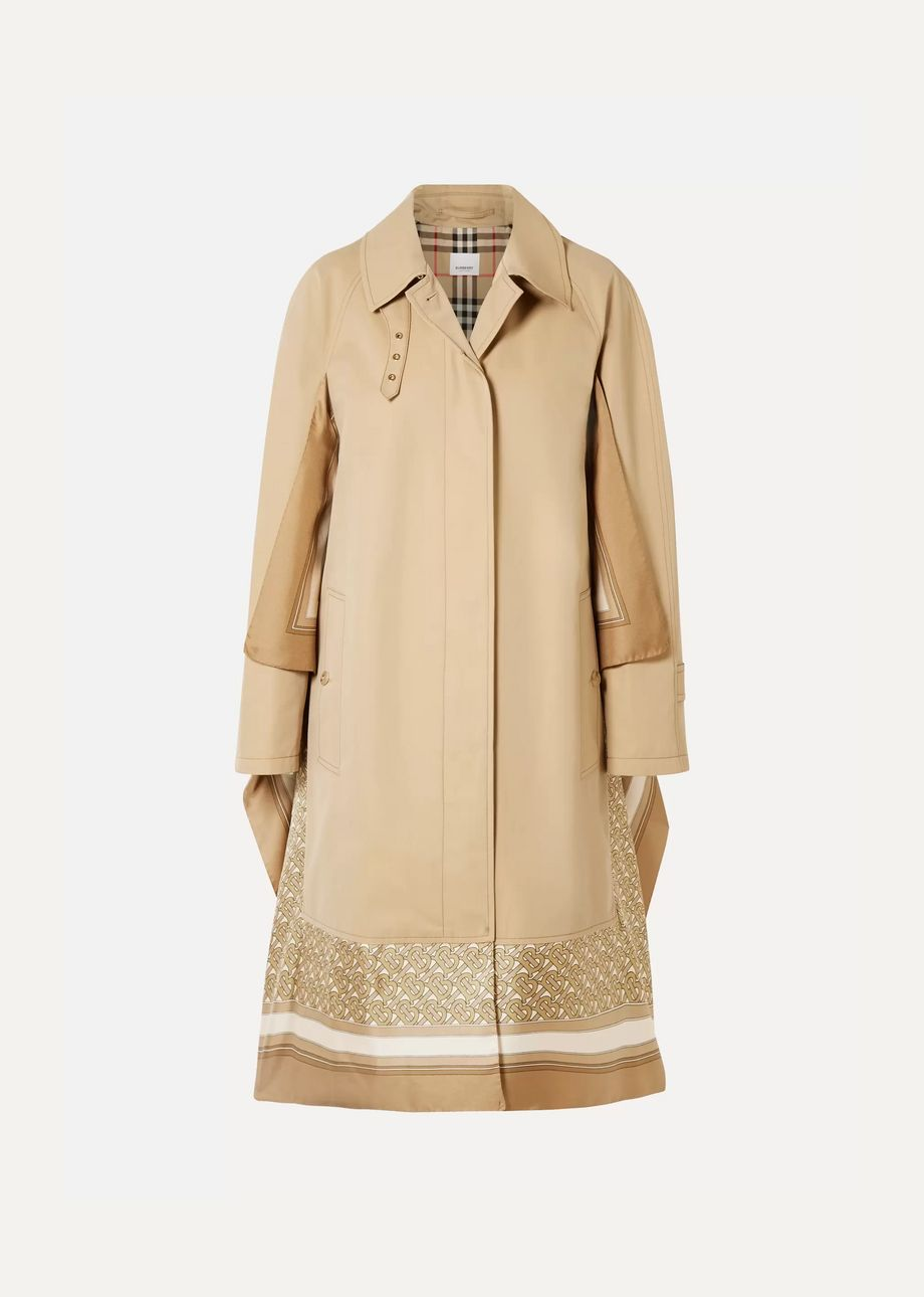Burberry Printed silk-paneled cotton-gabardine trench coat