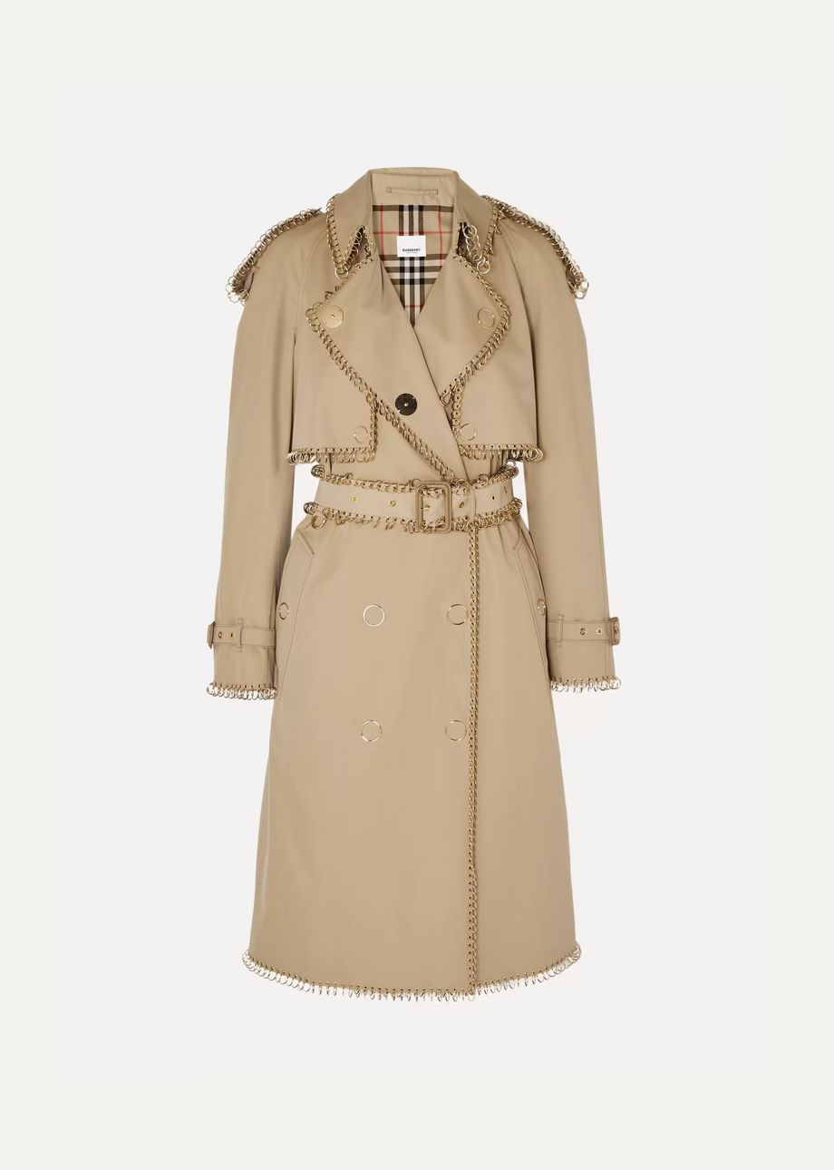 Burberry Embellished cotton-gabardine trench coat
