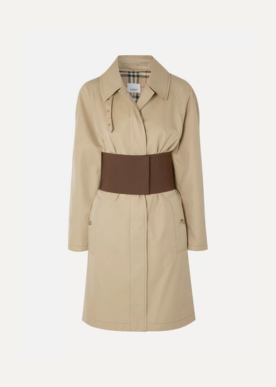 Belted cotton-gabardine trench coat