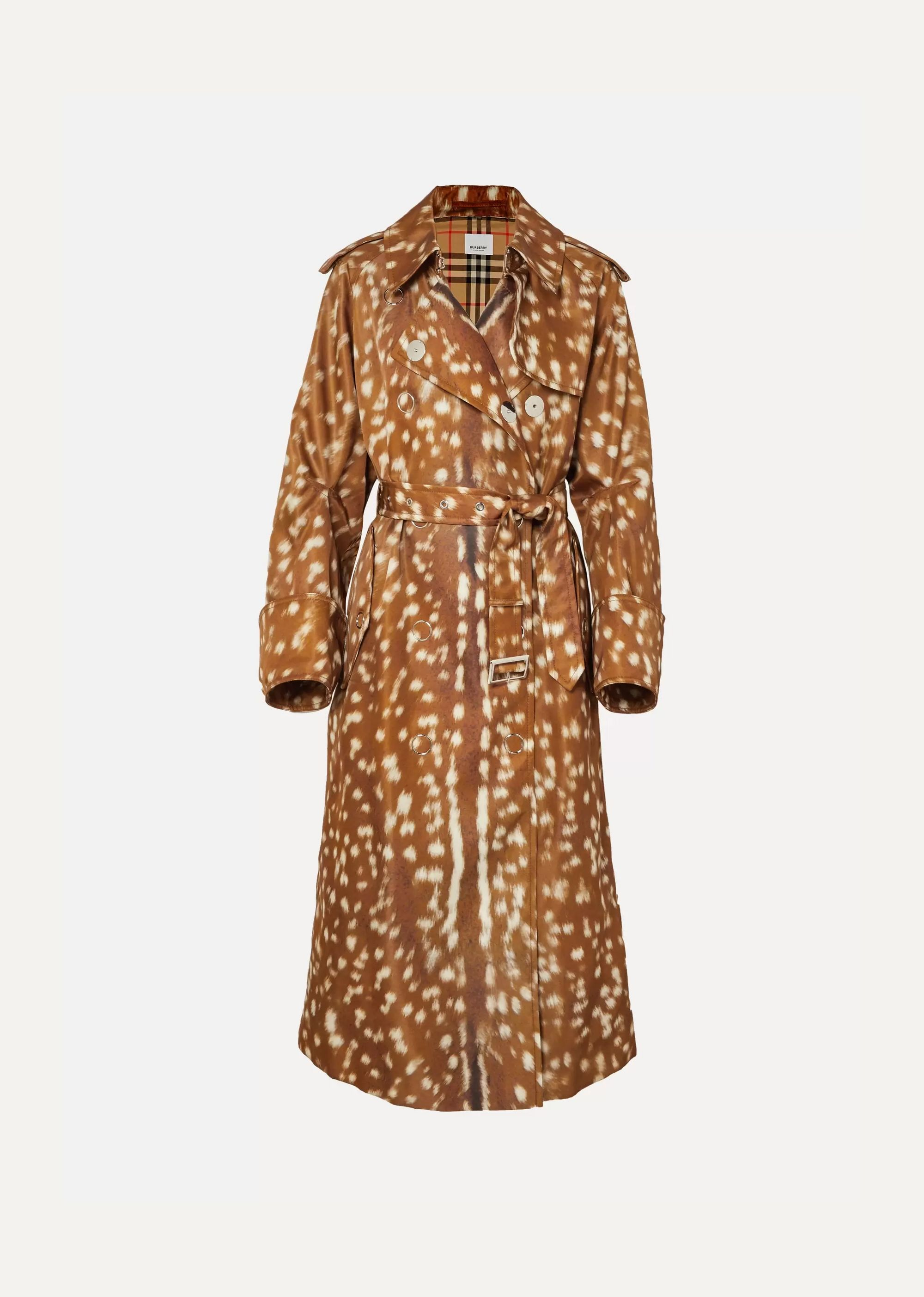 Animal-print gabardine trench coat