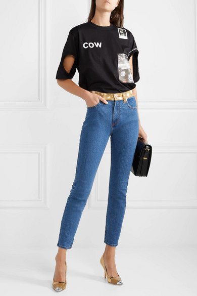 Burberry Jeans Animal-print trimmed high-rise skinny jeans