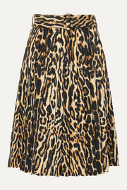 Burberry Belted pleated leopard-print silk-blend skirt