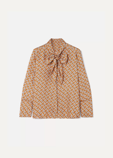 f4f0a8f7534a5 Burberry. Pussy-bow printed mulberry silk-twill blouse
