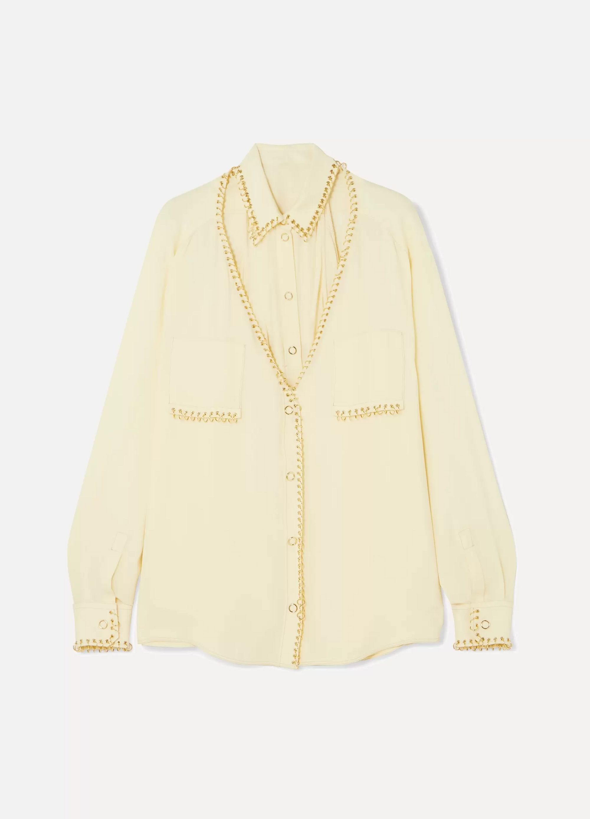 Burberry Convertible embellished mulberry silk shirt