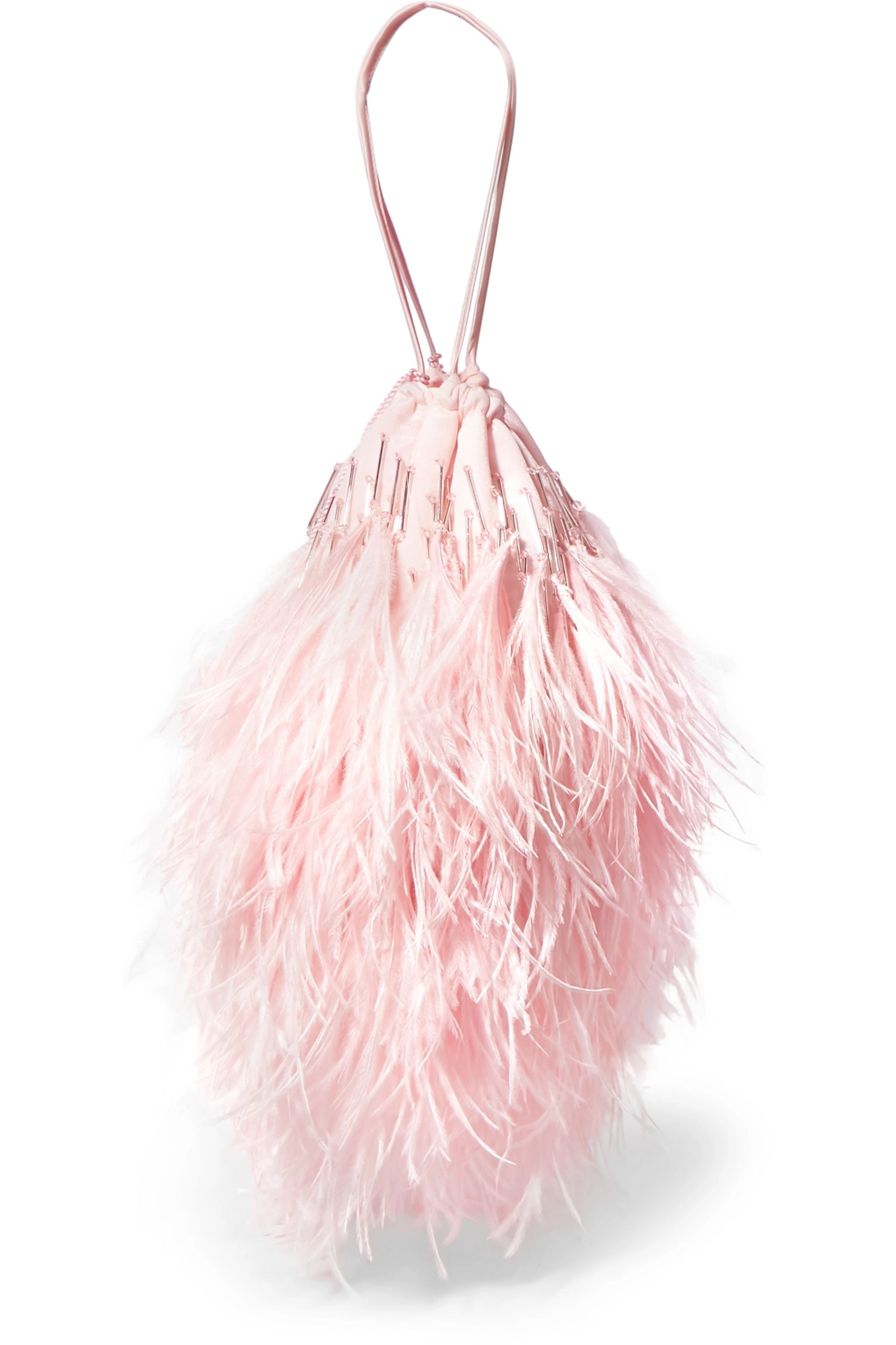 The Attico Feather-trimmed beaded satin pouch