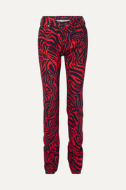 Printed high-rise straight-leg jeans