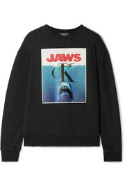 CALVIN KLEIN 205W39NYC Printed distressed cotton-terry sweatshirt