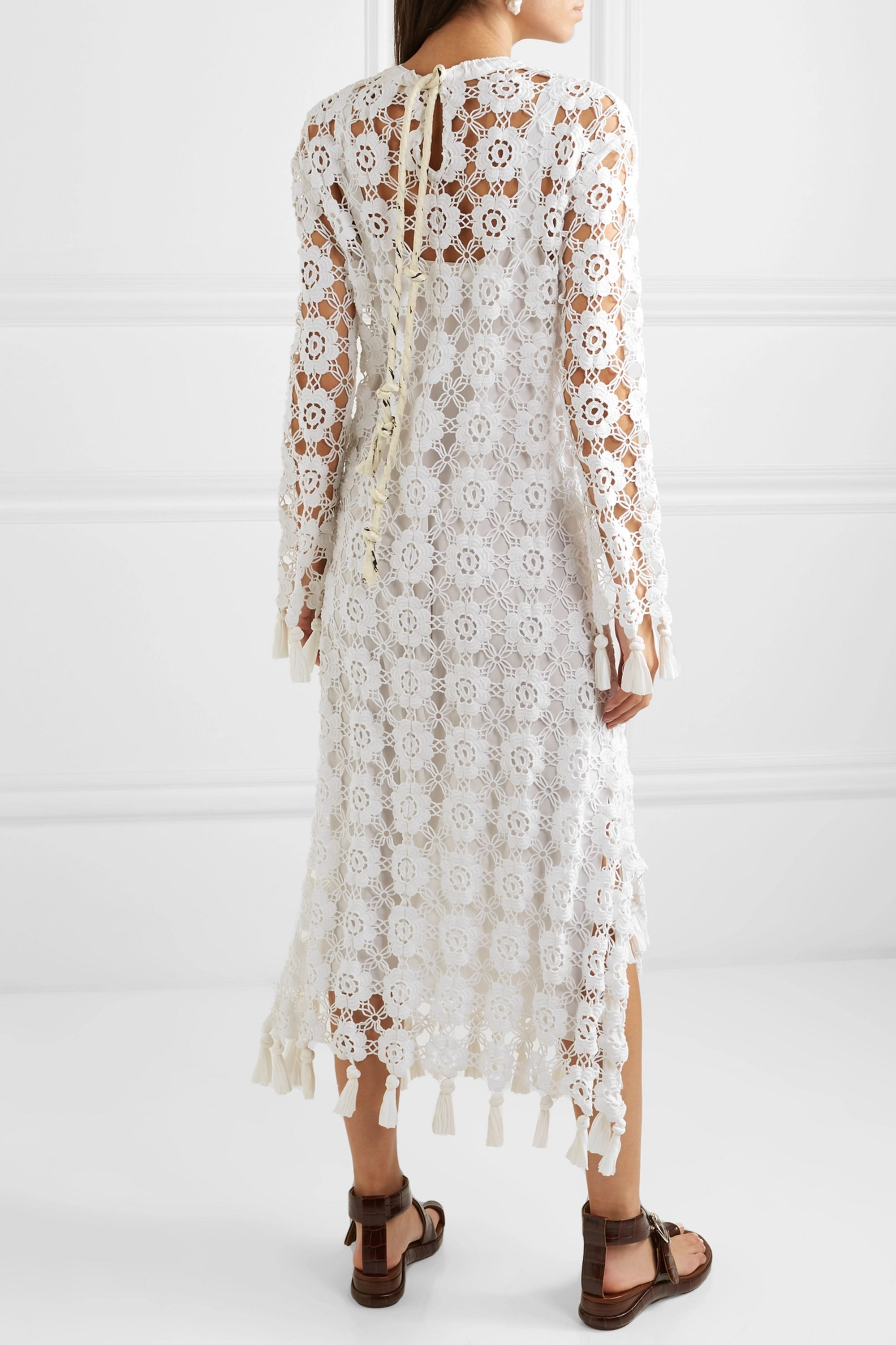 Chloé Fringed crocheted cotton-blend maxi dress