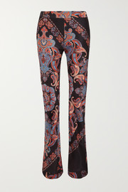 Printed crepe de chine flared pants