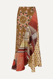 Patchwork printed silk-twill maxi skirt