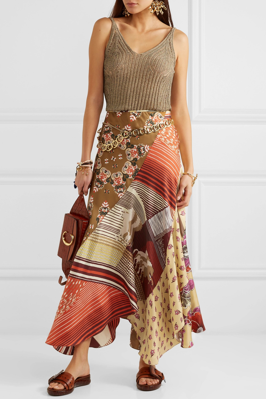 Chloé Patchwork printed silk-twill maxi skirt
