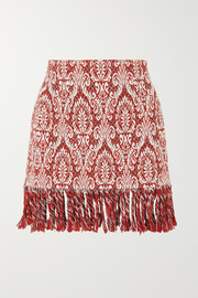 Chloé Fringed cotton-blend jacquard mini skirt